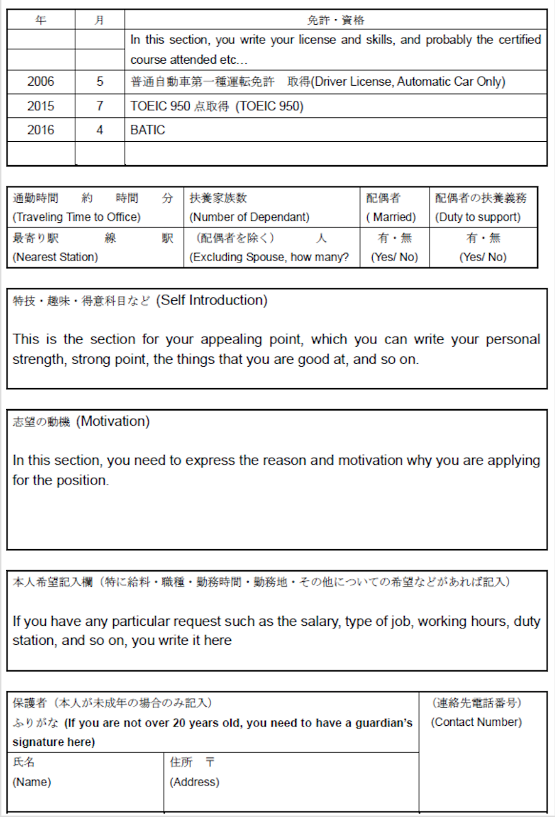 as an example i wrote it down in english to show what to write however you would be asked to prepare it in japanese when you apply for the job. Resume Example. Resume CV Cover Letter