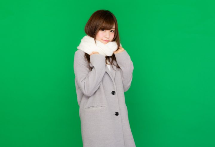 Japanese beauty standards, girl in coat and scarf