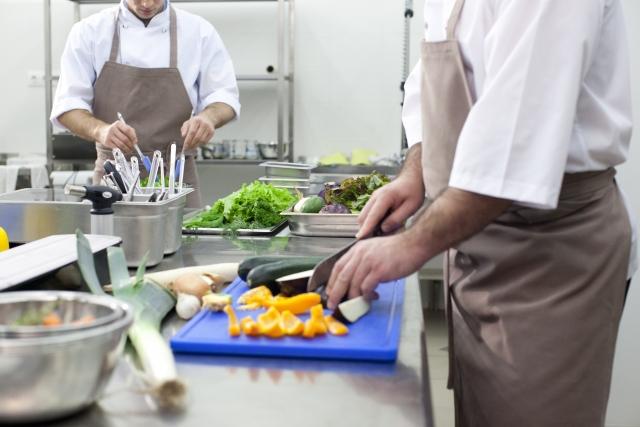 Working in the restaurant kitchen